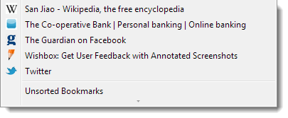 Favicon appearing in bookmarks menu